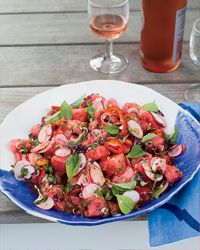 Thai-Style Radish and Watermelon Salad Recipe on Food & Wine -- this sounds bizarre, but if Tom Colicchio serves it to HIS friends, it must be awesome!