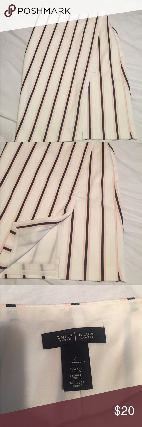 WHBM white, pink, black pin striped pencil skirt WHBM white, pink, black pin striped pencil skirt . Assymetrical slit in front. Gorgeous and figure flattering. Worn once White House Black Market Skirts Pencil