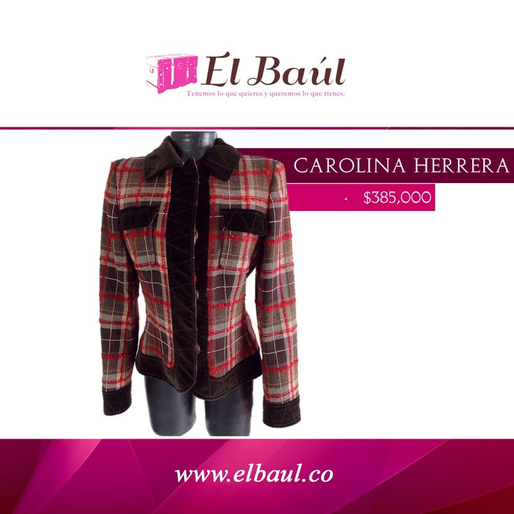 Chaqueta Carolina Herrera Compra su ropa de lujo en nuestra tienda de ropa online. $385,000  http://elbaul.co/Productos/494/Chaqueta-Carolina-Herrera-caf%C3%A9-con-rojo--
