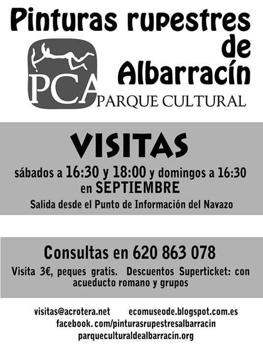 Visitas a las Pinturas Rupestres de Albarracín, (Albarracín, Teruel), para el mes de septiembre de 2013.