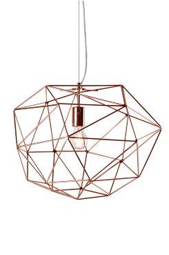 Ellos Home Taklampe Diamant i kraftige stenger av metall. Vaier og transparent ledning med takkopp i metall. Ledningslengde 120 cm. Høyde 42 cm. <br>Ø 48 cm. E27. Maks 60W. Glødepære anbefales. OBS! Noen tak/vinduslamper leveres med EU-støpsel som ikke kan benyttes i Norge. Dette må klippes av - for utbytting til støpsel av norsk standard (må utføres av autorisert elektriker). Alle våre lamper er CE-godkjente.