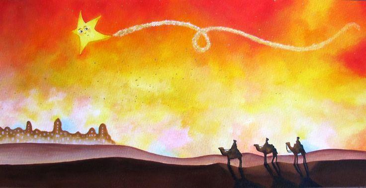 Sofia Filea www.facebook.com/sofiafileasart illustration, christmas, star, bethlehem start, jesus birth, three wise men, three kings