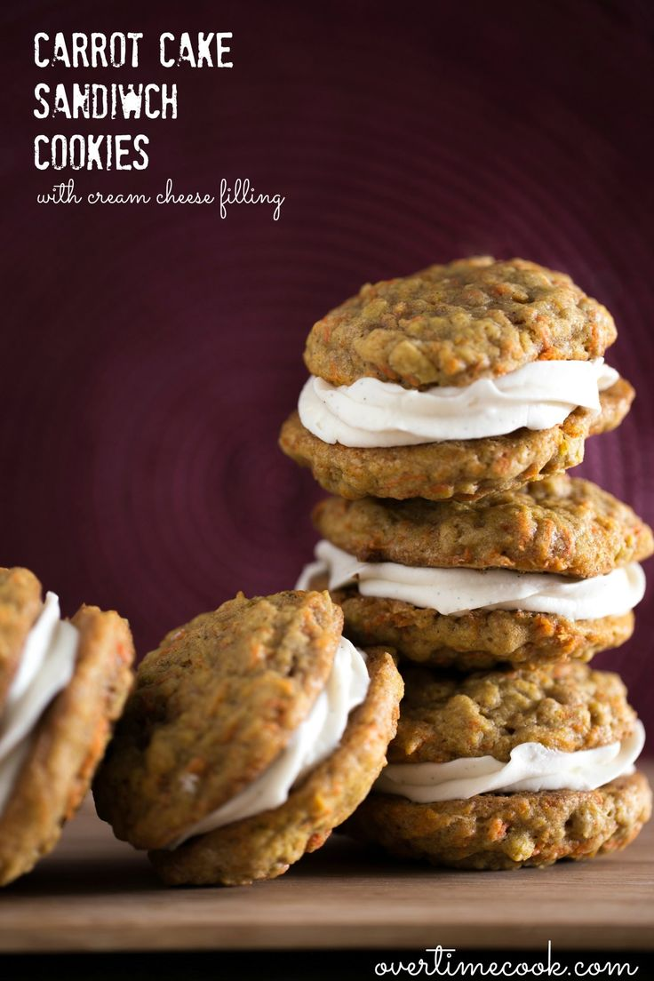 Carrot Cake Sandwich Cookies are perfect for fall: soft and cake-y cookies with cream cheese filling in the middle!
