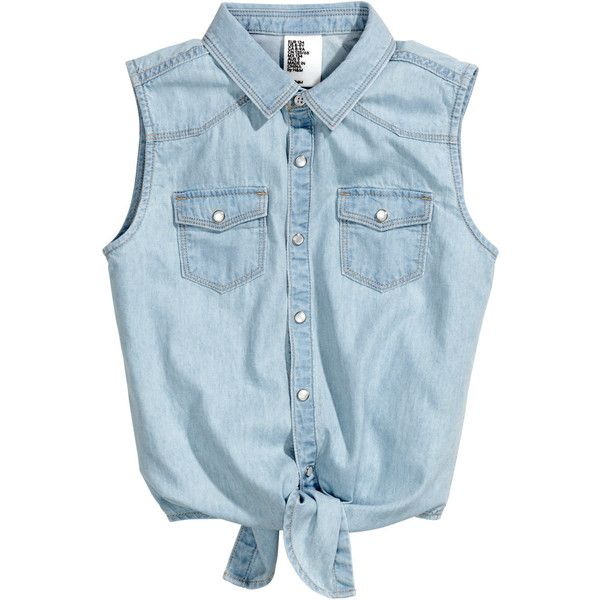 Sleeveless Denim Shirt $14.95 ($15) ❤ liked on Polyvore featuring tops, shirts, blusas, blouses, denim snap button shirt, no sleeve shirts, sleeveless shirts, sleeve less shirts and blue shirt