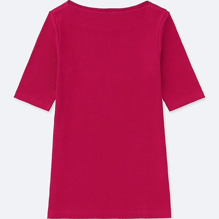 WOMEN RIBBED BOAT NECK HALF-SLEEVE T-SHIRT, PINK