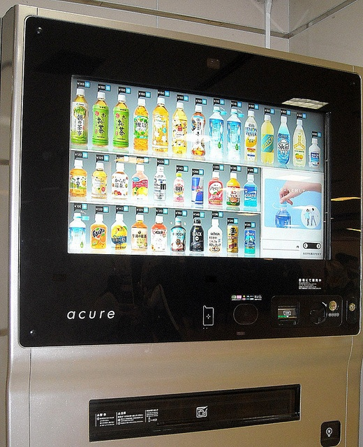 acure; Touch screen vending machine, Japan - it's amazing you cannot watch a Japanese animae without seeing someone purchasing the strangest drinks from these vending machiences !