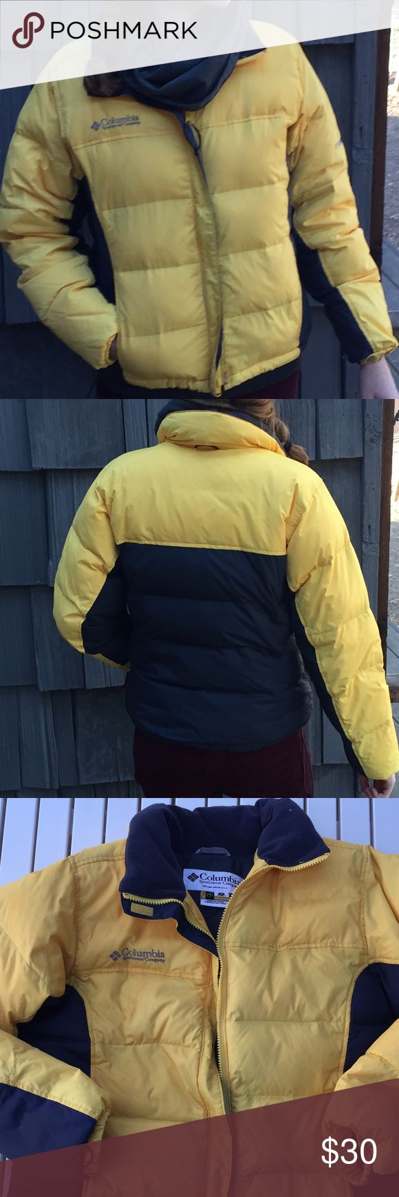 Columbia Titanium down puffer jacket Yellow and bluish /gray Columbia winter jacket, super warm puffer goose down. In excellent used condition, no stains or tears. Columbia Jackets & Coats Puffers