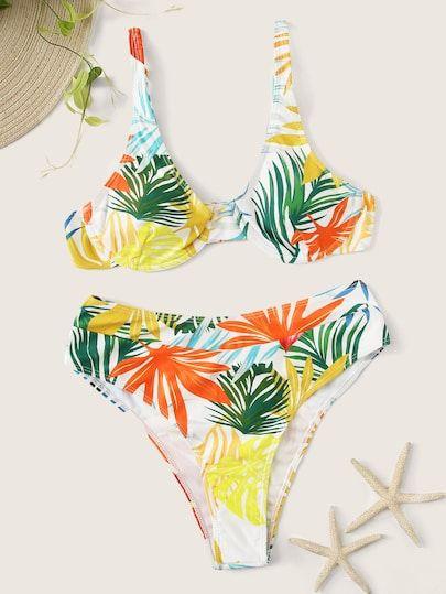 Random Tropical – Bügeloberteil mit Bikini mit hoher Taille    – Bikinis & swimwear