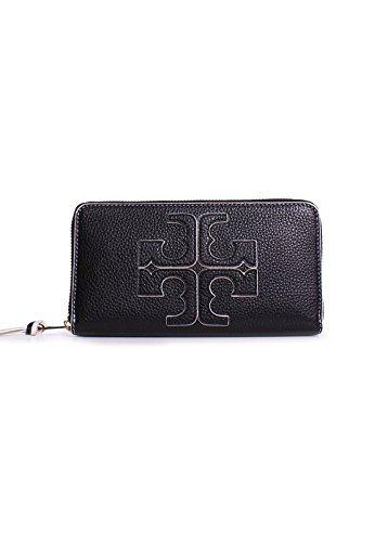 Tory Burch Logo Zip Continental Wallet Women Black Wallet NWT