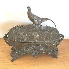 Rare Victorian Sculpture Bronze Jewelry Box Casket Pheasant Cain  Animalier 1880