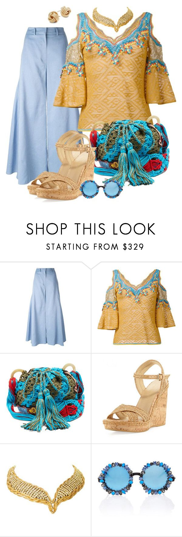 """""""Embroidered Top"""" by fantasiegirl ❤ liked on Polyvore featuring Peter Pilotto, Stuart Weitzman, Hattie Carnegie, A-Morir by Kerin Rose and Saks Fifth Avenue"""