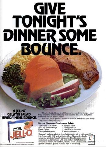 Cinnamon applesauce salad: Bad Food, Applesauce Jello, Jello Add, Dinners Tables, Add Bounce, Jell O', Salad Gelatani Horror, Applesauce Salad Gelatanious, Food Jello