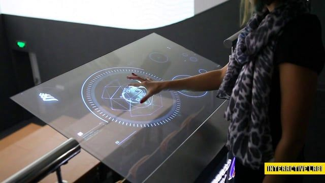 futuristic multi-touch interface the presenter could scroll through sections to choose one he wants to speak about.