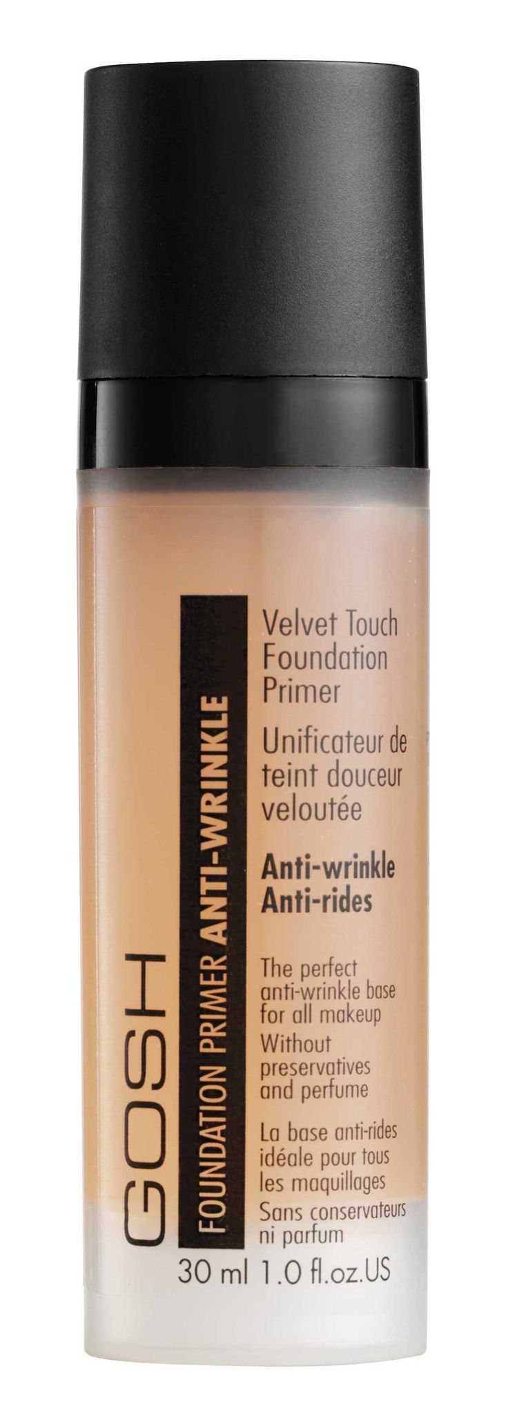 GOSH Velvet Touch Foundation Primer Anti-Wrinkle is the perfect base for all makeup. Contains Matrixyl3000 – a face firming peptide, which boosts the collagen fibers and hereby improves the natural elasticity of the skin. Fills in deep pores and fine lines. Creates a uniform, matt and silky soft surface. 30 ml