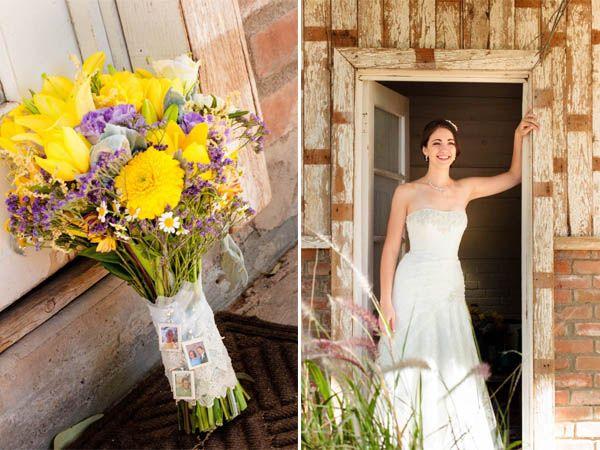 Un matrimonio giallo e viola in un antico granaio: Tiffany e Joel - Bouquet