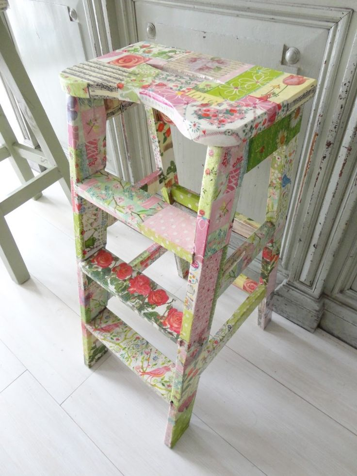 Decoupage with Napkins -- I have seen some really cute napkins! Will go searching. Thinking of a purse, step stool for my grandson, all kinds of ways to use this!