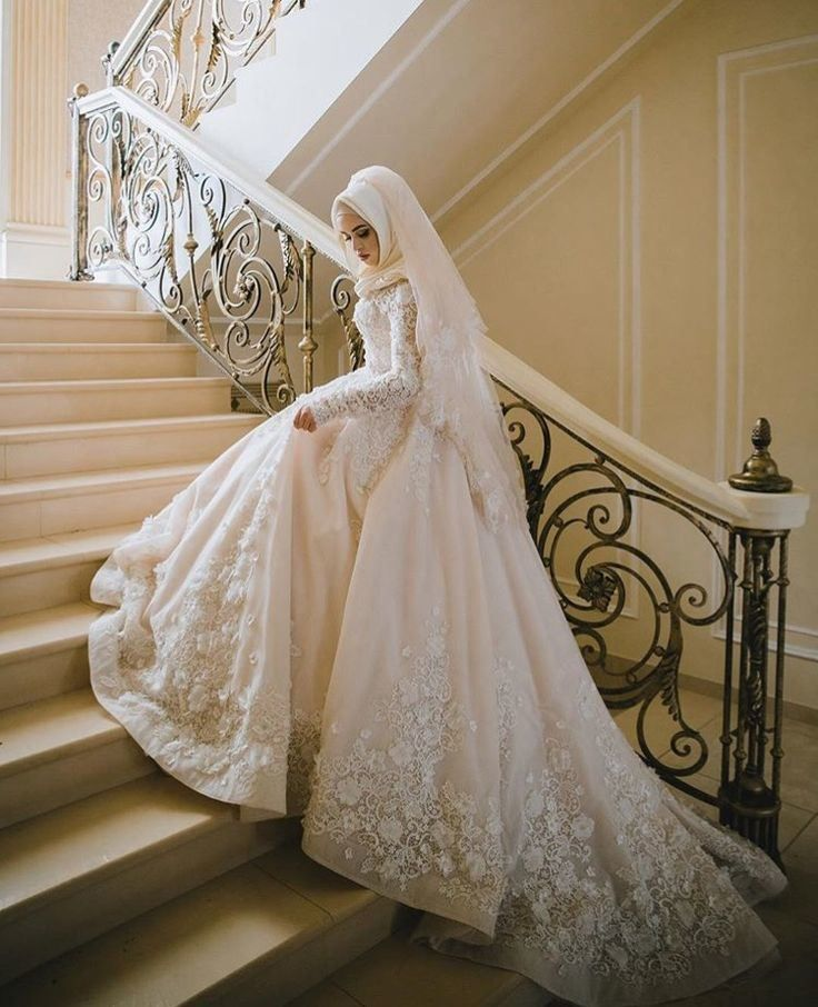 Hot Item Long Sleeves Muslim Bridal Ball Gown Lace Hijab Wedding Dresses L1027 Muslim Wedding Gown Muslimah Wedding Dress Muslim Wedding Dresses