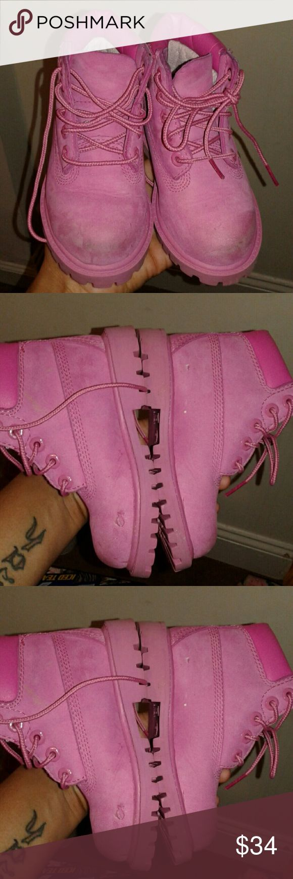 Girls Pink Timberlands Size 8c Good used condition see pics for details size 8c Pink Timberland Boots Timberland Shoes Boots