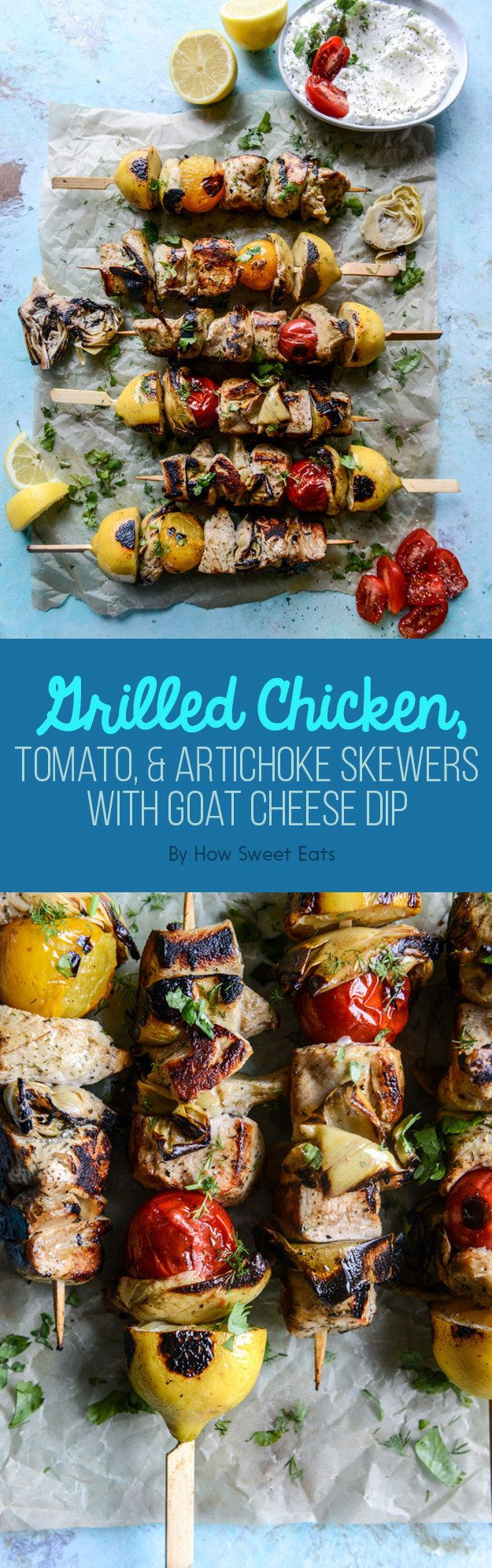 Grilled Chicken, Tomato, and Artichoke Skewers with Goat Cheese Dip