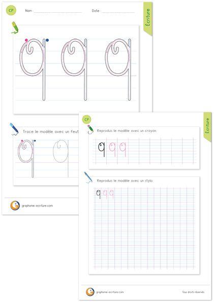 Apprendre à écrire la lettre Q MAJUSCULE en cursive - Comme le O MAJUSCULE cursive soutenu par une tige.