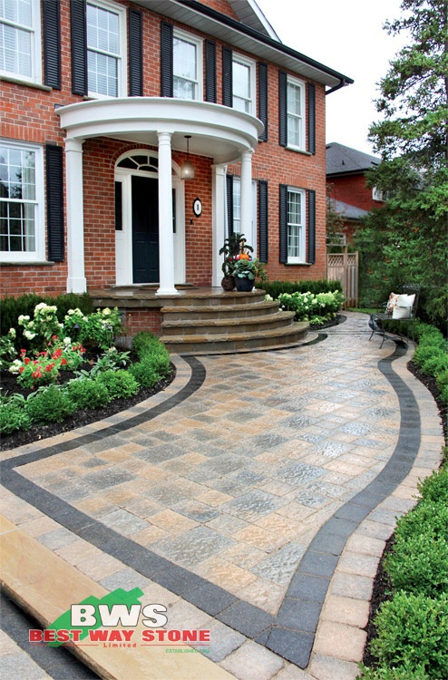 #outdoor #entrance: Best Way Stone > Paver: Bellagio Antico (Beige Mix) / Accent:  Strada Nova (Ultra Black) / Border:  Strada Antico (Biege Mix) available at our store at 3500 Mavis Rd, Mississauga, ON L5C 1T8