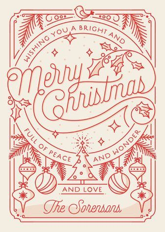 """""""Merry Little Lines"""" - Modern Holiday Cards in Santa Claus by GeekInk Design."""