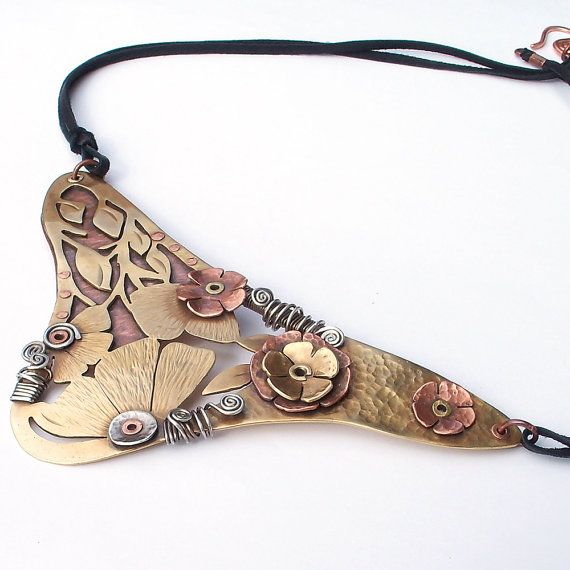 Statement Necklace Handmade Mixed Metal Jewelry by IntuitiveGlass, $190.00
