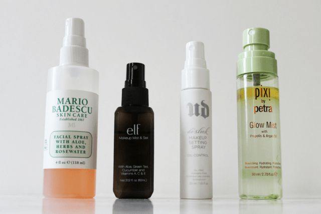Best Facial Sprays: Mario Badescu Facial Spray with Aloe, Herbs, and Rosewater ELF Cosmetics Makeup Mist and Set Urban Decay Oil Control Makeup Setting Spray Pixi by Petra Glow Mist