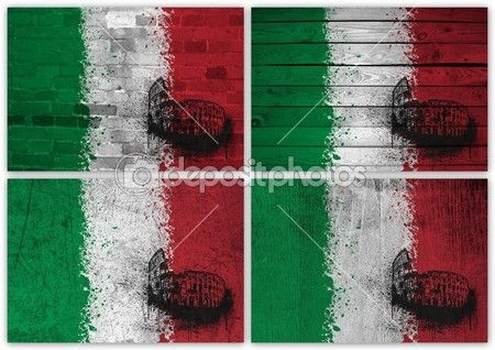 Italian flag collage — Stock Image #12642644