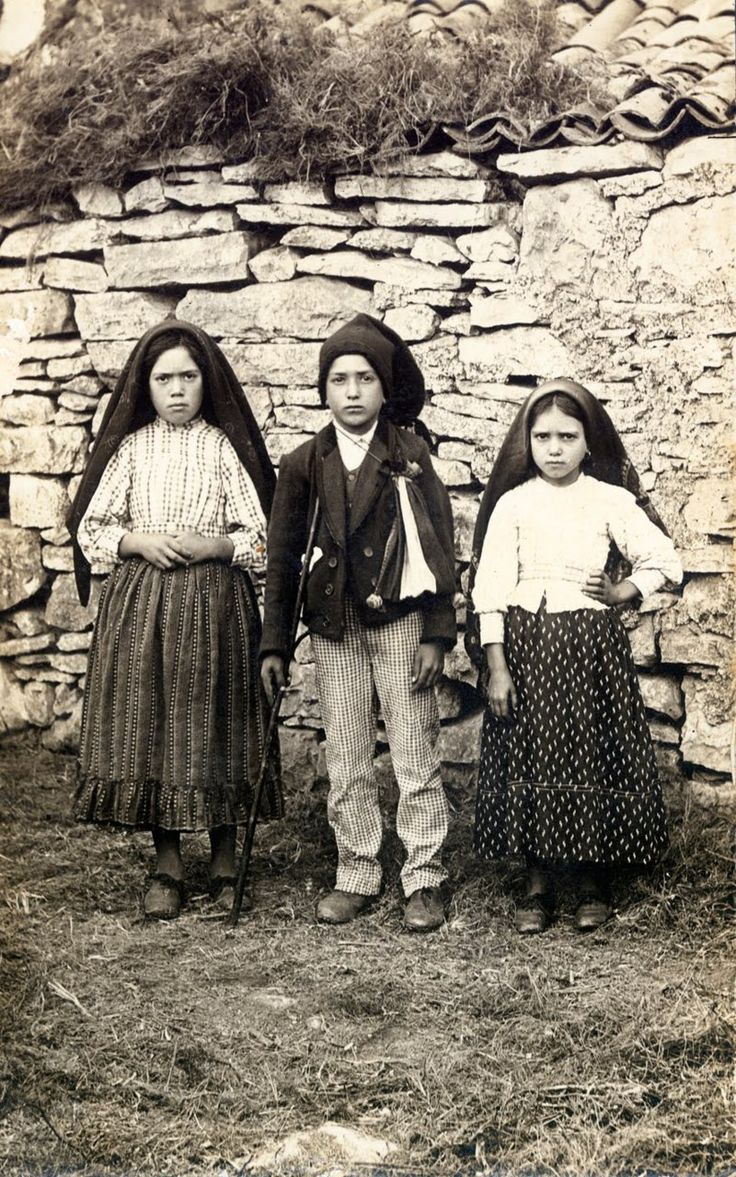 The Children of Fatima: Jacinta, Francisco and Lucia Who Saw the Vision of Fatima, 1917, in Portugal