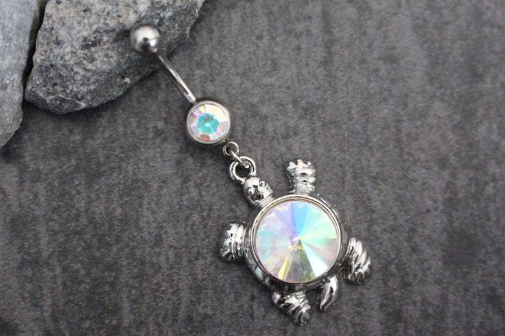 Opal Aurora Borealis Crystal Turtle 14G Belly Button Rings This stunning silver…