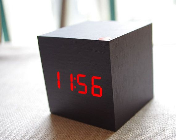 LED wood  Clock /Wooden LED Desk Clock/ Square Wood by WhatWOOD, $22.00