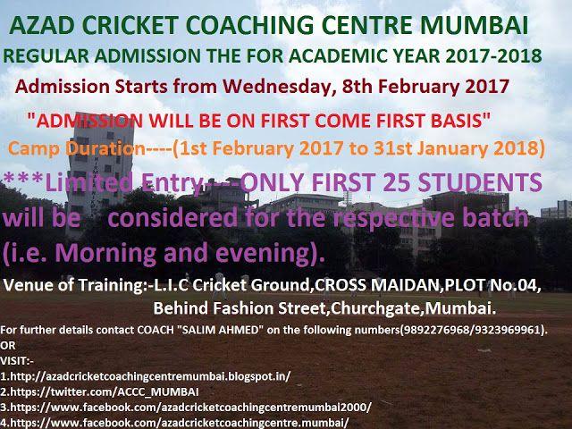 AZAD CRICKET COACHING CENTRE MUMBAI: AZAD CRICKET COACHING CENTRE MUMBAI  REGULAR ADMIS...