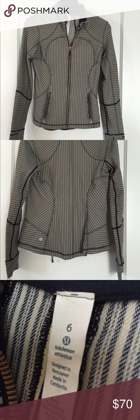 Lululemon size 6 blue and white zip-up jacket Lululemon size 6 zip up jacket : blue and white stripe, perfect condition! This jacket has thumb holes and a rose gold zipper. Comfy stretchy fit and not a super thick material! lululemon athletica Tops Sweatshirts & Hoodies
