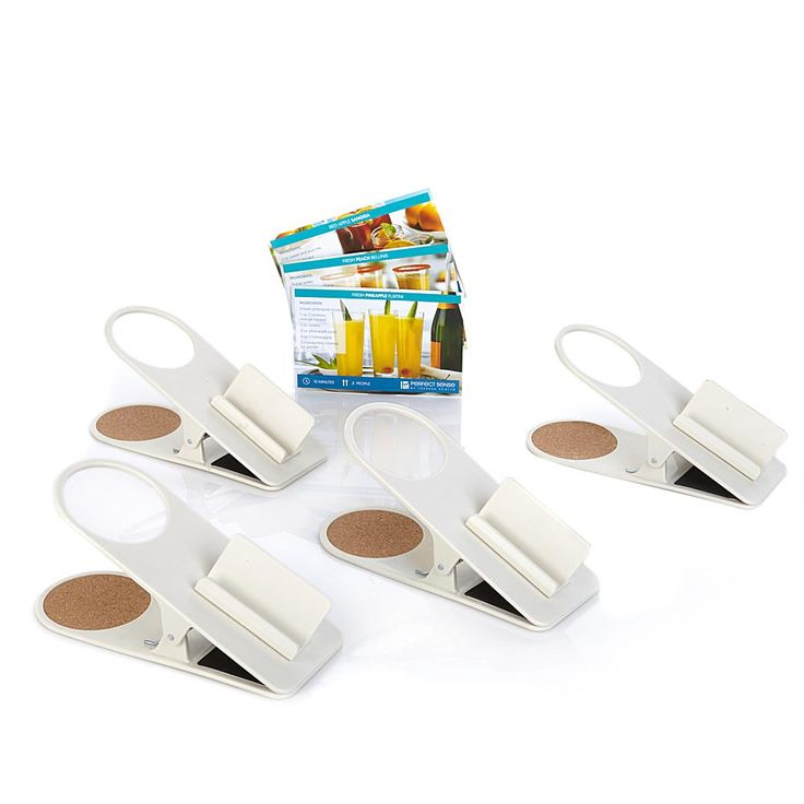 Theresa Scotto Perfect Sense 4-pack Beverage Clips with Cell Phone Holder - Ivory/Off White