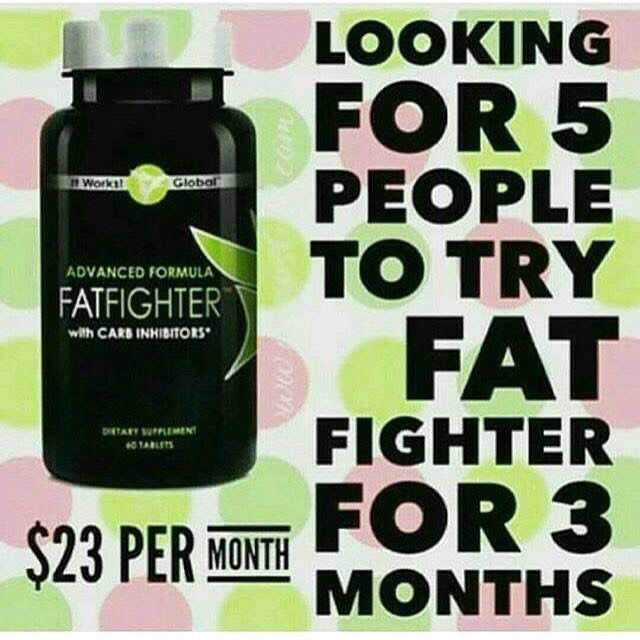 Looking for 5 Product testers for Fatfighter for 90 Days‼️ IT WORKS FAT FIGHTERS IS AN ADVANCED FORMULA THAT HELPS WITH CARB INHIBITORS  We all love our carbs and sweets and now it's okay to splurge every once in a while when you have Advanced Formula Fat Fighter with Carb Inhibitors! All you have to do is to take 2 tablets after eating, and the fat fighters will absorb some of the fat and carbs from your food so that your body doesn't.