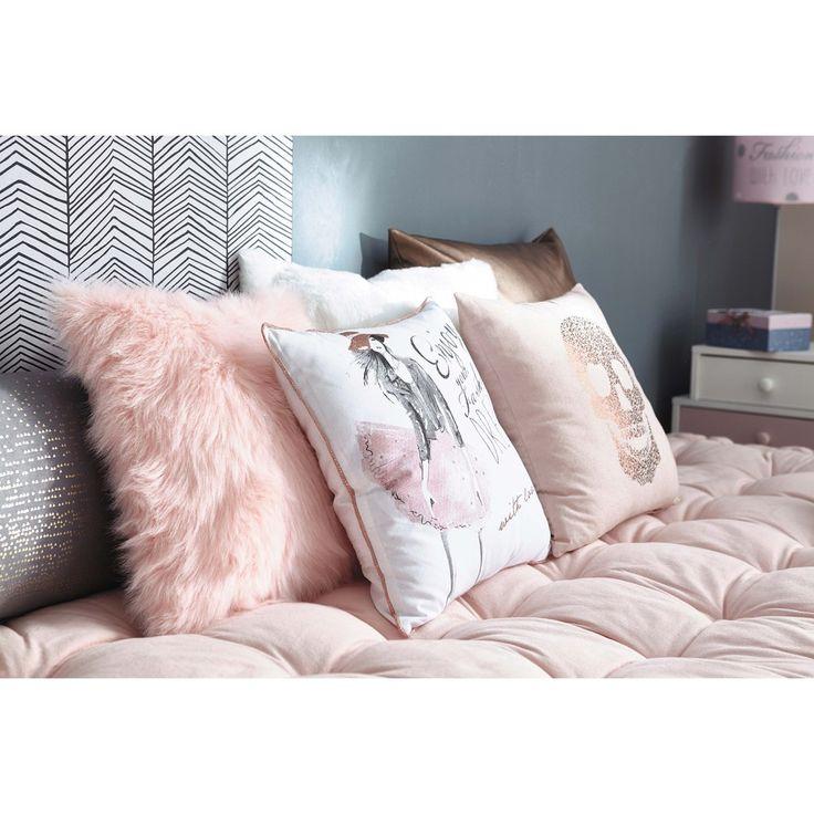 Cuscino imitazione pelliccia bianco 45 x 45 cm | Maisons du Monde