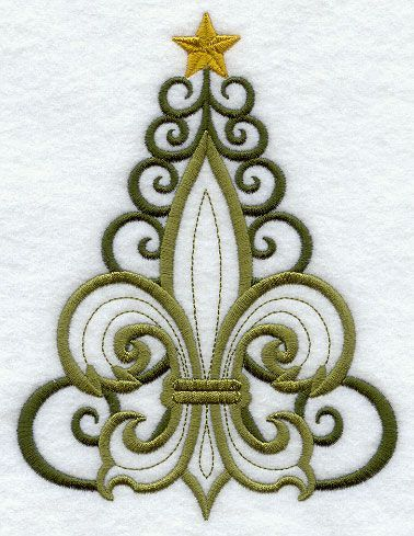 Fleur de Lis Christmas Tree Embroidery Design