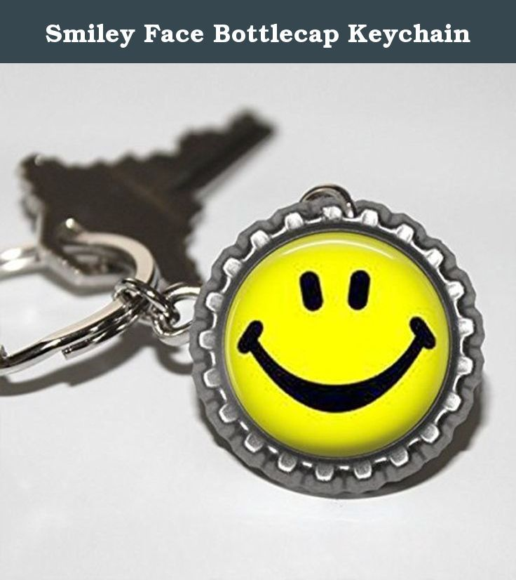 Smiley Face Bottlecap Keychain. Smiley face bottlecap keychain is made with a flattened bottlecap high quality photo paper and an epoxy dome. Bottlecap is attached to a 25mm key ring. This keychain has a big yellow smiley face on it.