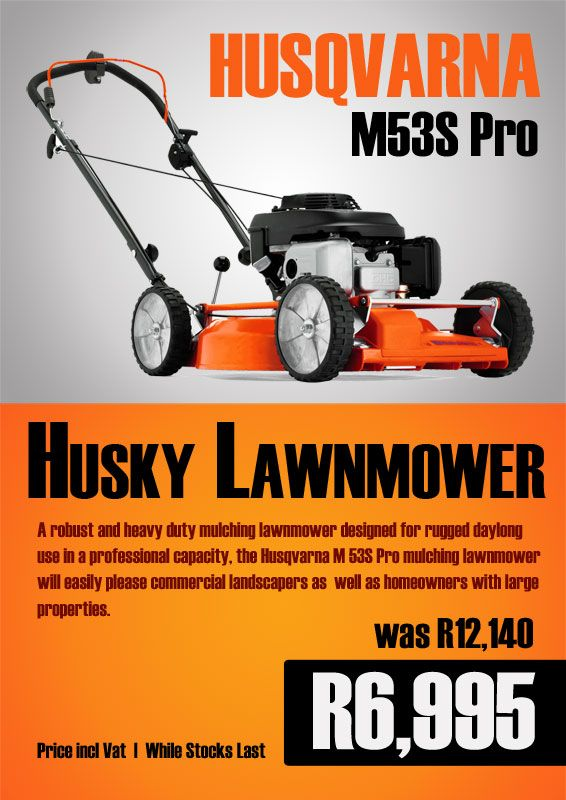 The Husqvarna M53S Pro Lawnmower.  A robust and heavy duty mulching lawnmower designed for rugged daylong use in a professional capacity, the Husqvarna M 53S Pro mulching lawnmower, will easily please commercial landscapers as  well as homeowners with large properties.