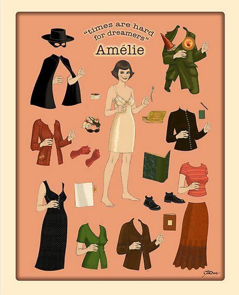"""Amelie. http://www.redbubble.com/people/nouvellegamine/works/8600976-amelie-poster-doll.  Voir un extrait du film """"Le fabuleux destin d'Amélie Poulain"""" http://pinterest.com/pin/274860383481141706/"""
