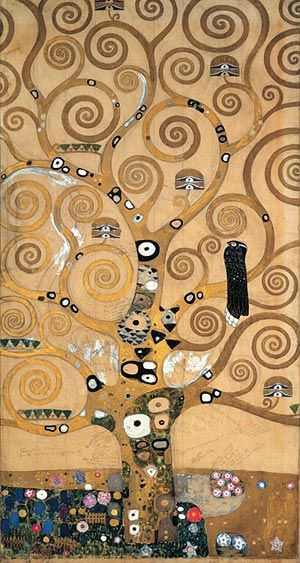 "drawing by Gustav Klimt, ""Tree of Life,"" from the dining room at the Stoclet Palace in Brussels, Belgium    Um dia quero fazer uma releitura deste..."