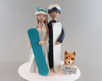Bride & Groom Custom Snowboard/ Ski Theme Wedding Cake by mudcards