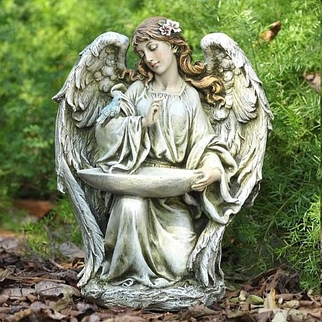 Amazing Napco Imports 17088 Kneeling Angel Birdfeeder Resin, As Shown