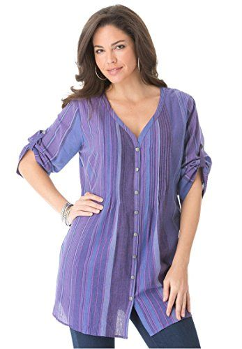 Roamans Women's Plus Size Rainbow Stripe Bigshirt (Berry ... - photo #21