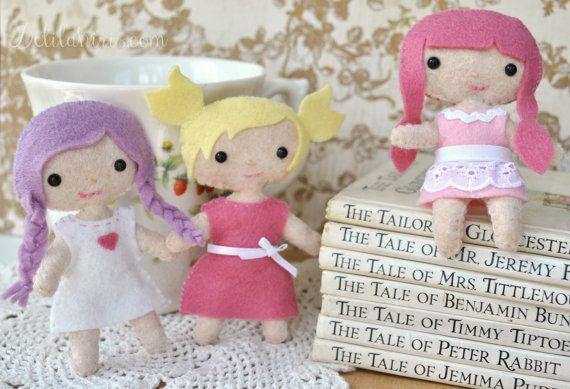 Felt Doll Patterns  3 DOLLS Cutie Pie Pocket Doll by DelilahIris, $12.50