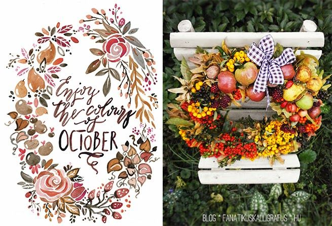 Beatiful watercolour wreath and calligraphy accompanied by a charming real wreath made of apples, nuts and berries.  by The Fanatic Calligrapher