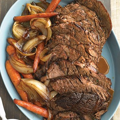 Slow-Cooker Pot Roast - I'm gonna try this but I think I will add some potatoes too it as well!