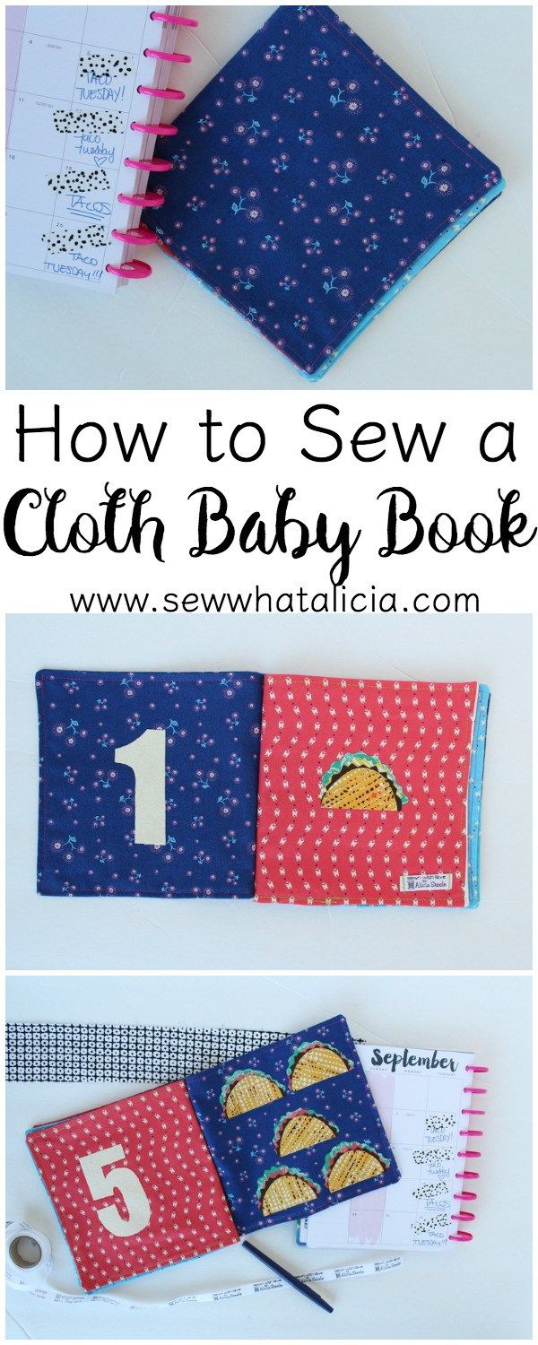 How to Sew a Cloth Baby Book: Head over to see the tutorial for creating a fabric baby book. Click through to see how to add some fun appliqués to make your very own customized baby book! www.sewwhatalicia.com