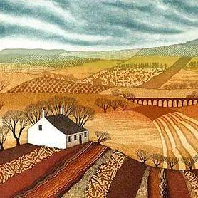 Northumberland artist Rebecca Vincent Shepherd's Cottage etching